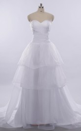 A-Line Long Sweetheart Sleeveless Bell Pleats Tiers Lace-Up Back Keyhole Tulle Lace Dress