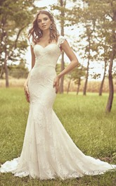 Cap Sleeve And Buttons Sweetheart Mermaid Lace Wedding Dress With Open Back