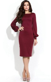Puff Sleeve Knee-length Sheath Dress