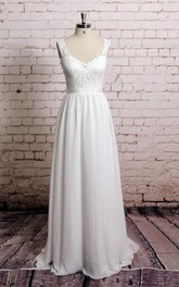 V Shape Lace-Neckline Sheer Lace Back A-Line Style Chiffon Wedding Dress With Waistband