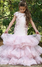 Mermaid Bateau Cap-Sleeve Tier Flower Girl Dress with Applique