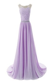 Bateau Neck Crystal-beaded Chiffon A-line Gown With Train