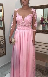 Timeless Lace Appliques Pink Evening Dress 2018 3 4-Length Sleeve A-line