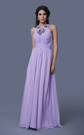 A-Line Sleeveless Chiffon Dress With Keyhole Back and Pleats