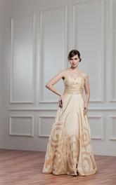 Sweetheart Pleated A-Line Gown with Ruffles and Beaded Top