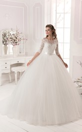 Ball Gown Lace&Tulle Long Sleeve Dress with Crystal Detailing