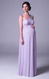 Empire One-Shoulder Lace Chiffon Bridesmaid Dress