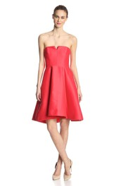 Strapless A-line Knee-length Dress With Pleats