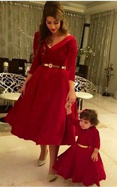 Dramtic 3 4-length-sleeve Red Mother and Daughter Dress Belt