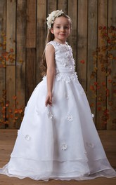 Sleeveless Appliqued A-Line Flower Girl Dress With Ruched Waist