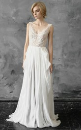 Plunged Sleeveless Chiffon Pick Up Wedding Dress With Appliques