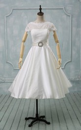 Scalloped Button Back Satin Wedding Dress With Sash And Crystal Detailing