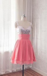Short Chiffon Dress With Beading&Sequins