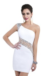 White Sexy Sequins Beading Cocktail Dresses One Shoulder Crystal See Through Short Sleeveless Homecoming Dresses