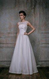A-Line Scoop Sleeveless Satin Lace Dress With Illusion Back