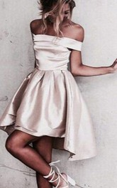 A-line Off-the-shoulder Sleeveless Ruching Short Mini High-low Satin Homecoming Dress