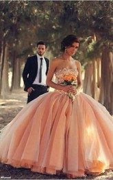 Pink Sexy Tulle Ball Gown Wedding Dresses 2018 Sweetheart Vestidos De Novia Pleated Bridal Gowns With Rhinestones
