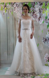 Bateau Neck Long Illusion Sleeve A-Line Wedding Dress With Organza Overlay