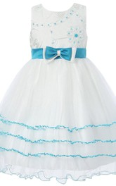 Sleeveless A-line Tulle Dress With Beadings and Bow