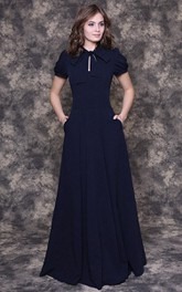 A-Line Chiffon Floor-Length Dress With Puff Short Sleeve