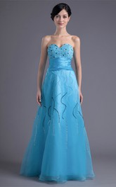 sweetheart floor-length a-line dress with ruched waist and beading