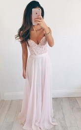 V-neck Long Chiffon Long Prom Dress Evening Dress