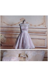 A-Line Tea-Length Cap Sleeve Tulle Lace Satin Dress With Keyhole Back
