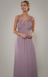 V-Neck Empire Ruched Sleeveless Chiffon Bridesmaid Dress