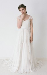 Lace Wedding Gown With Cap Sleeves and Chiffon