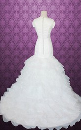 Queen Anne Cap Button Back Mermaid Satin Wedding Dress With Tiers And Ruffles