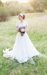 Jewel Short Sleeve Long Chiffon Wedding Dress With Sash And Low-V Back