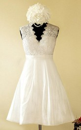 A-Line Mini Sweetheart V-Neck Lace Satin Taffeta Dress With Illusion Button