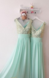 Sparkly Sleeveless V-neck Chiffon Dress With Sequined Bodice