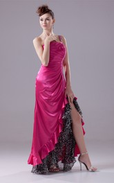 One-Shoulder Ruched Satin Front-Split Dress with Beading and Leopard Print