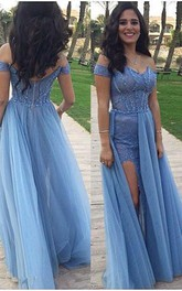 Glamorous Off-the-Shoulder Long Prom Dress Tulle Zipper Back