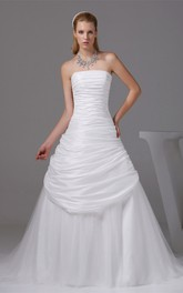 Ruched A-Line Strapless Side Draping Gown with Court Train and Zipper Back
