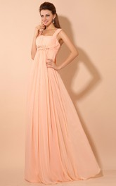Maxi Soft Flowing Fabric Empire Dress With Draping And Straps