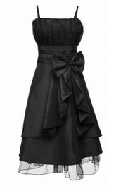 Spaghetti Straps Pleat Dress With Bow and Drapping