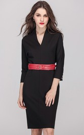 Black Long Sleeve Sheath Dress with Belt