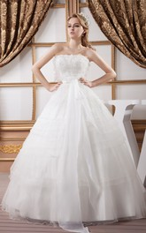 A-Line Tulle Strapless Ball Gown with Bow