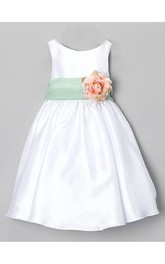 Sleeveless Jewel Neck A-line Satin Dress With Organza Sash and Pin-On Flower