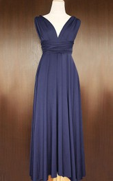 Maxi Midnight Blue Bridesmaid Convertible Wrap Transformer Full Length Cocktail Dress