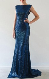 Short Sleeve Sequin Gown Dress