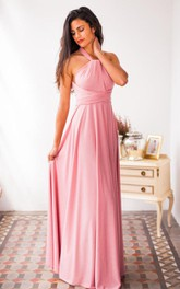 Halter Floor-length Gown With Sash and Pleats