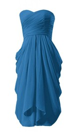 Strapless Ruched Bodice Knee-length Layered Pleated Chiffon Dress