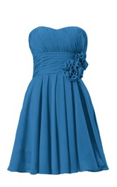 Strapless Ruched Floral Sash Knee-length Pleated Chiffon Dress