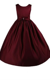 Sleeveless A-line Pleated Dress With Bow