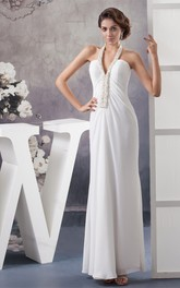 Notched Ankle-Length Chiffon Dress with Beading and Halter