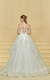 Sleeveless Adorable Cute Lace Wedding Ball Gown With Ruflles And Illusion Button Back