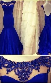 Lace Backless Mermaid Evening Dresses 2018 Long Sleeves Ruffles Prom Gown With Jewel Appliques